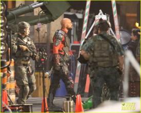 Will Smith, Margot Robbie, Jay Hernandez, Adam Beach, Adewale Akinnuoye-Agbaje, Jai Courtney and Karen Fukuhara seen on the sets of Suicide Squad