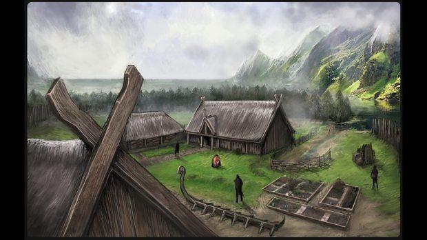 Concept art: Viking village.