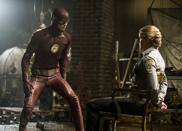"The Flash -- ""Flash of Two Worlds"" -- Image FLA202A_0016b -- Pictured (L-R): Grant Gustin as the Flash and Shantel VanSanten as Patty Spivot -- Photo: Cate Cameron/The CW -- © 2015 The CW Network, LLC. All rights reserved."