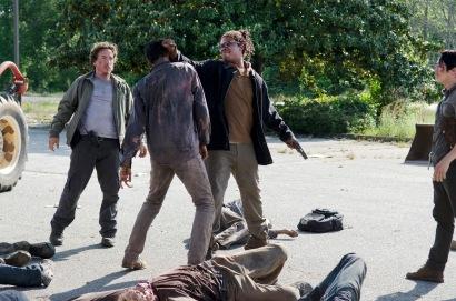Michael Traynor as Nicholas, Corey Hawkins as Heath and Steven Yeun as Glenn Rhee - The Walking Dead _ Season 6, Episode 1 - Photo Credit: Gene Page/AMC