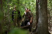 Steven Yeun as Glenn Rhee, Corey Hawkins as Heath and Michael Traynor as Nicholas - The Walking Dead _ Season 6, Episode 1 - Photo Credit: Gene Page/AMC