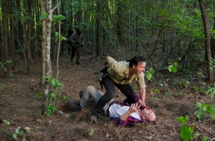 Andrew Lincoln as Rick Grimes and Ethan Embry as Carter - The Walking Dead _ Season 6, Episode 1 - Photo Credit: Gene Page/AMC