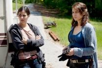 Alanna Masterson as Tara Chambler and Lauren Cohan as Maggie Greene - The Walking Dead _ Season 6, Episode 1 - Photo Credit: Gene Page/AMC