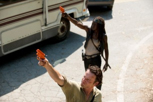 Andrew Lincoln as Rick Grimes and Danai Gurira as Michonne - The Walking Dead _ Season 6, Episode 1 - Photo Credit: Gene Page/AMC
