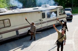 Lennie James as Morgan, Andrew Lincoln as Rick Grimes and Danai Gurira as Michonne - The Walking Dead _ Season 6, Episode 1 - Photo Credit: Gene Page/AMC