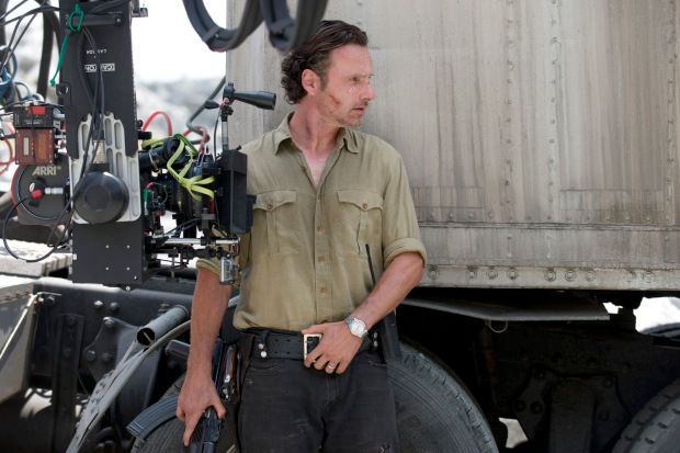 Andrew Lincoln as Rick Grimes - The Walking Dead _ Season 6, Episode 1 _ BTS - Photo Credit: Gene Page/AMC