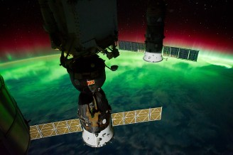 (September 17, 2011) --- This is one of a series of night time images photographed by one of the Expedition 29 crew members from the International Space Station. It features Aurora Australis, seen from a point over the southeast Tasman Sea near southern New Zealand. The station was located at 46.65 degrees south latitude and 169.10 degrees east longitude.
