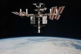 (May 23, 2011) --- This image of the International Space Station and the docked space shuttle Endeavour, flying at an altitude of approximately 220 miles, was taken by Expedition 27 crew member Paolo Nespoli from the Soyuz TMA-20 following its undocking on May 23, 2011 (USA time). The pictures taken by Nespoli are the first taken of a shuttle docked to the International Space Station from the perspective of a Russian Soyuz spacecraft. Onboard the Soyuz were Russian cosmonaut and Expedition 27 commander Dmitry Kondratyev; Nespoli, a European Space Agency astronaut; and NASA astronaut Cady Coleman. Coleman and Nespoli were both flight engineers. The three landed in Kazakhstan later that day, completing 159 days in space.