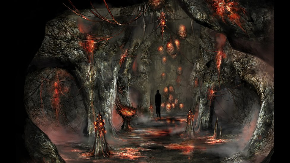 Concept art – Zygon cave.