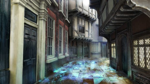 Concept art – the trap street's floor security system.