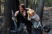 Norman Reedus as Daryl Dixon and Liz E. Morgan as Tina - The Walking Dead _ Season 6, Episode 6 - Photo Credit: Gene Page/AMC