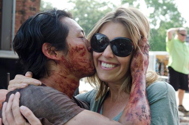 Steven Yeun as Glenn Rhee and Denise Huth - The Walking Dead _ Season 6, Episode 7 - Photo Credit: Gene Page/AMC