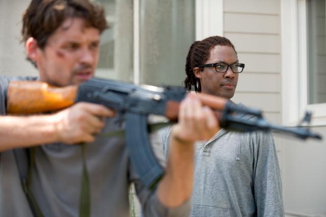 Austin Nichols as Spencer Monroe and Corey Hawkins as Heath - The Walking Dead _ Season 6, Episode 8 - Photo Credit: Gene Page/AMC