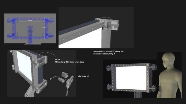Concept art and measurements – castle monitors.