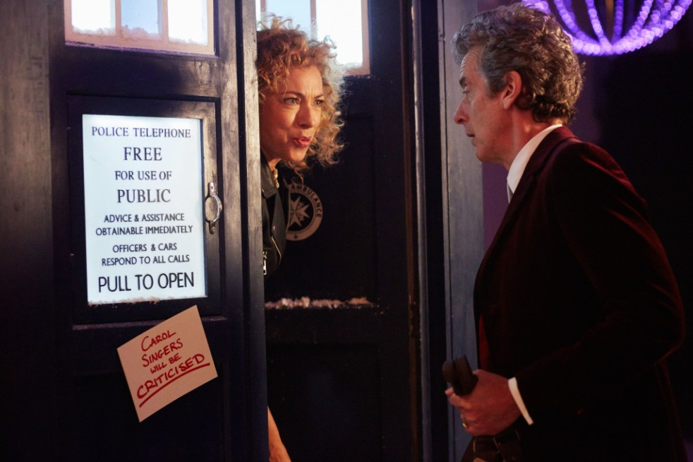 Picture shows: Peter Capaldi as the Doctor and River Song (Alex Kingston) - (C) BBC   - Photographer: Simon Ridgway