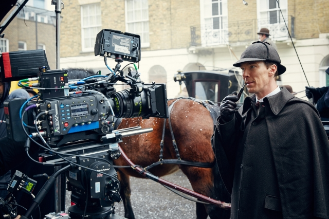 MASTERPIECE Sherlock: The Abominable Bride Picture Shows: Behind the scene. EXT. 221B Preparing to shoot horse drawn carriage in snow. BENEDICT CUMBERBATCH as Sherlock Holmes © Robert Viglasky/Hartswood Films and BBC Wales for BBC One and MASTERPIECE This image may be used only in the direct promotion of MASTERPIECE. No other rights are granted. All rights are reserved. Editorial use only.