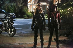 "Arrow -- ""Taken"" -- Image AR415A_0205b.jpg -- Pictured (L-R): Katie Cassidy as Laurel Lance/Black Canary and Willa Holland as Thea Queen / Speedy -- Photo: Bettina Strauss/ The CW -- © 2016 The CW Network, LLC. All Rights Reserved."