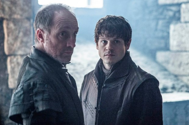 Michael McElhatton as Roose Bolton and Iwan Rheon as Ramsay Bolton – photo Helen Sloan/HBO