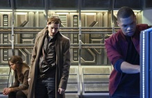 """DC's Legends of Tomorrow -- """"Marooned"""" -- Image LGN107B_0100b.jpg -- Pictured (L-R): Stephanie Cleough as Eve Baxter, Arthur Darvill as Rip Hunter, and Franz Drameh as Jefferson """"Jax"""" Jackson -- Photo: Bettina Strauss/The CW -- © 2016 The CW Network, LLC. All Rights Reserved."""