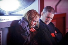 """DC's Legends of Tomorrow -- """"Marooned"""" -- Image LGN107A_0149b.jpg -- Pictured (L-R): Caity Lotz as Sara Lance/White Canary and Wentworth Miller as Leonard Snart/Captain Cold -- Photo: Bettina Strauss/The CW -- © 2016 The CW Network, LLC. All Rights Reserved."""