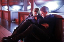 "DC's Legends of Tomorrow -- ""Marooned"" -- Image LGN107A_0152b.jpg -- Pictured (L-R): Caity Lotz as Sara Lance/White Canary and Wentworth Miller as Leonard Snart/Captain Cold -- Photo: Bettina Strauss/The CW -- © 2016 The CW Network, LLC. All Rights Reserved."