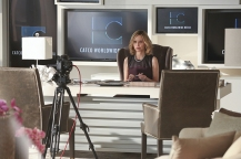 """Falling"" -- Cat (Calista Flockhart, pictured) appears on THE TALK to discuss Supergirl, on SUPERGIRL, Monday, March 14 (8:00-9:00 PM, ET/PT) on the CBS Television Network. Photo: Michael Yarish/CBS ©2016 CBS Broadcasting, Inc. All Rights Reserved"