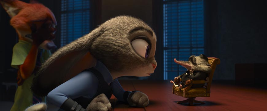 ZOOTOPIA – Pictured (L-R): Nick Wilde, Judy Hopps, Mr. Big. ©2016 Disney. All Rights Reserved.