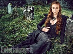 "Sophie Turner as Sansa Stark ""This is the season I'm most excited for,"" says Turner. ""Sansa's coming into her own and standing up for herself."" (Image Credit: MARC HOM for EW)"