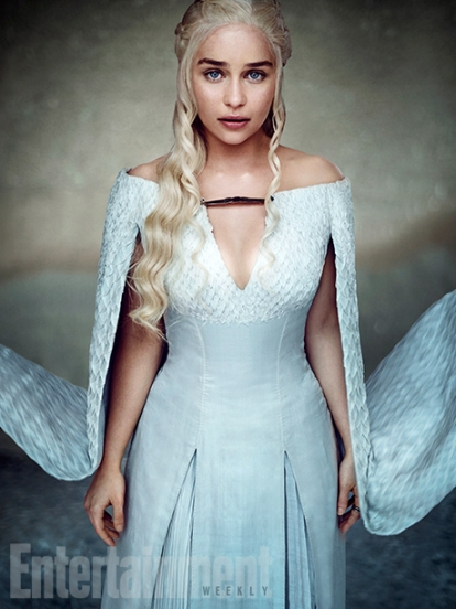 "Emilia Clarke as Daenerys Targaryen ""She's learning the last lesson she needs to learn,"" says Clarke. ""There's just few remnants of being a human being she's shaking off."" (Image Credit: MARC HOM for EW)"