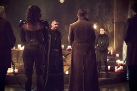 "DC's Legends of Tomorrow -- ""Left Behind"" -- Image LGN109C_0009b.jpg -- Pictured (L-R): Matt Nable as Ra's Al Ghul and Caity Lotz as Sara Lance/White Canary -- Photo: Dean Buscher/The CW -- © 2016 The CW Network, LLC. All Rights Reserved."