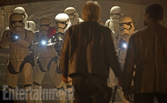 "This shot is from a bonus deleted scene that will be available only digitally. (But remember, each Blu-ray combo pack includes a free download, so you can get it that way.) When the First Order attacks the castle run by Lupita Nyong'o's Maz Kanata, Han, Finn, and Chewie face down this squad of stormtroopers in her basement. Han does his usual stellar job talking his way out of trouble. For those craving a little more of Solo's smart-ass swagger, this moment will make you say: ""I love you ..."""