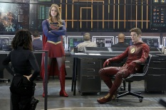 """Worlds Finest"" -- Kara gains a new ally when the lightning-fast superhero The Flash suddenly appears from an alternate universe and helps Kara battle Siobhan, aka Silver Banshee, and Livewire in exchange for her help in finding a way to return him home, on SUPERGIRL, Monday, March 28 (8:00-9:00 PM, ET/PT) on the CBS Television Network. Pictured left to right: Jenna Dewan-Tatum, Melissa Benoist and Grant Gustin Photo: Robert Voets/Warner Bros. Entertainment Inc. © 2016 WBEI. All rights reserved."