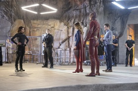 """Worlds Finest"" -- Kara gains a new ally when the lightning-fast superhero The Flash suddenly appears from an alternate universe and helps Kara battle Siobhan, aka Silver Banshee, and Livewire in exchange for her help in finding a way to return him home, on SUPERGIRL, Monday, March 28 (8:00-9:00 PM, ET/PT) on the CBS Television Network. Pictured left to right: Jenna Dewan-Tatum, Melissa Benoist, Grant Gustin and Jeremy Jordan, Photo: Robert Voets/Warner Bros. Entertainment Inc. © 2016 WBEI. All rights reserved."