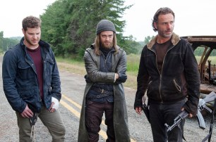Tom Payne as Jesus, Andrew Lincoln as Rick Grimes, and Jeremy Palko as Andy - The Walking Dead _ Season 6, Episode 12 - Photo Credit: Gene Page/AMC