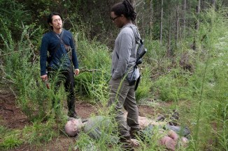 Steven Yeun as Glenn Rhee and Corey Hawkins as Heath - The Walking Dead _ Season 6, Episode 12 - Photo Credit: Gene Page/AMC