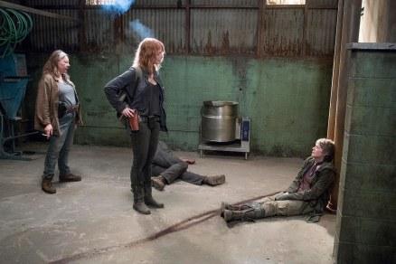 ?, Alicia Witt as Paula, and Melissa McBride as Carol Peletier - The Walking Dead _ Season 6, Episode 13 - Photo Credit: Gene Page/AMC