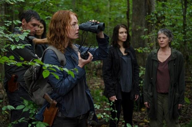 Alicia Witt as Paula, Lauren Cohan as Maggie Greene, and Melissa McBride as Carol Peletier - The Walking Dead _ Season 6, Episode 13 - Photo Credit: Gene Page/AMC