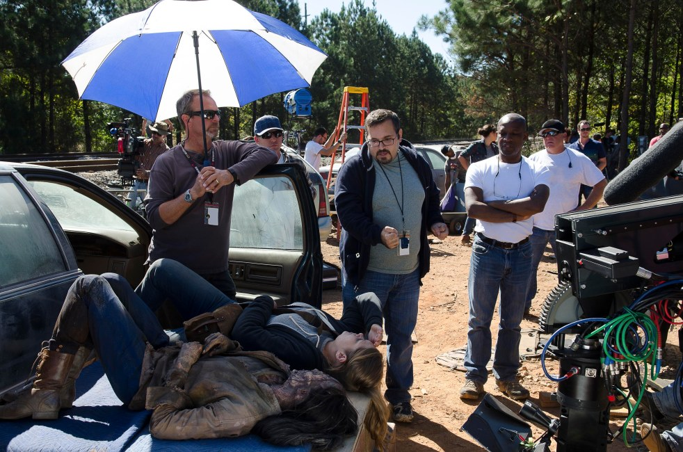 Merritt Wever as Dr. Denise Cloyd and Stunt Coordinator Monty Simons - The Walking Dead _ Season 6, Episode 14 - Photo Credit: Gene Page/AMC