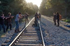Josh McDermitt as Dr. Eugene Porter, Norman Reedus as Daryl Dixon, Christian Serratos as Rosita Espinosa, Austin Amelio as D - The Walking Dead _ Season 6, Episode 14 - Photo Credit: Gene Page/AMC
