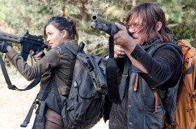 Christian Serratos as Rosita Espinosa and Norman Reedus as Daryl Dixon - The Walking Dead _ Season 6, Episode 14 - Photo Credit: Gene Page/AMC