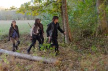 Steven Yeun as Glenn Rhee; Norman Reedus as Daryl Dixon; Danai Gurira as Michonne; Sonequa Martin-Green as Sasha - The Walking Dead _ Season 6, Episode 15 - Photo Credit: Gene Page/AMC