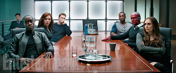 "Here, the current members of the new Avengers squad – from left: War Machine, Black Widow, Cap, Falcon, Vision, and Scarlet Witch – are forced to confront the casualty count and damage estimates from past missions. Tony Stark, who is funding their operation, watches on from the background. ""It's super important to us that you have a very difficult time choosing who you're rooting for,"" says Joe Russo, who directed the movie with his brother, Anthony. ""It doesn't break down very cleanly in the movie. There's a theme of brotherhood and rivalry between Cap and Tony that goes to some very complicated places."" Anthony adds: ""Let's just say that metaphor is a very vivid one for us."""