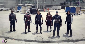 Marvel's Captain America: Civil War L to R: Falcon/Sam Wilson (Anthony Mackie), Ant-Man/Scott Lang (Paul Rudd), Hawkeye/Clint Barton (Jeremy Renner), Scarlet Witch/Wanda Maximoff (Elizabeth Olsen), Captain America/Steve Rogers (Chris Evans), and Winter Soldier/Bucky Barnes (Sebastian Stan) Photo Credit: Film Frame © Marvel 2016