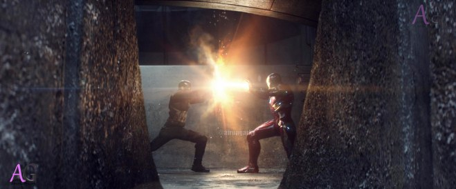 Marvel's Captain America: Civil War L to R: Captain America/Steve Rogers (Chris Evans) and Iron Man/Tony Stark (Robert Downey Jr.) Photo Credit: Film Frame © Marvel 2016