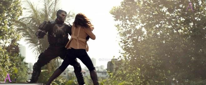 Marvel's Captain America: Civil War Crossbones/Brock Rumlow (Frank Grillo) and Black Widow/Natasha Romanoff (Scarlett Johansson) Photo Credit: Film Frame © Marvel 2016