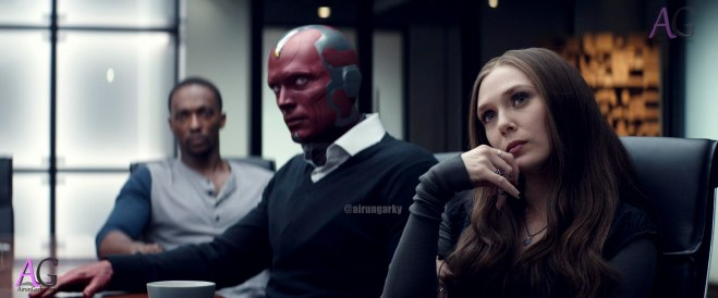 Marvel's Captain America: Civil War L to R: Sam Wilson/Falcon (Anthony Mackie), Vision (Paul Bettany), Wanda Maximoff/Scarlet Witch (Elizabeth Olsen) Photo Credit: Film Frame © Marvel 2016