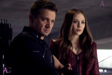 Marvel's Captain America: Civil War L to R: Hawkeye/Clint Barton (Jeremy Renner) and Scarlet Witch/Wanda Maximoff (Elizabeth Olsen) Photo Credit: Zade Rosenthal © Marvel 2016
