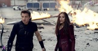 Marvel's Captain America: Civil War L to R: Hawkeye/Clint Barton (Jeremy Renner) and Wanda Maximoff/Scarlet Witch (Elizabeth Olsen). Photo Credit: Film Frame © Marvel 2016