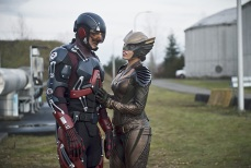 "DC's Legends of Tomorrow -- ""Progeny""-- Image LGN110a_0348b.jpg -- Pictured (L-R): Brandon Routh as Ray Palmer/Atom and Ciara Renee as Kendra Saunders/Hawkgirl -- Photo: Diyah Pera/The CW -- © 2016 The CW Network, LLC. All Rights Reserved."