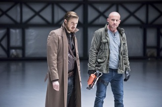 "DC's Legends of Tomorrow -- ""Last Refuge""-- Image LGN112b_0290b.jpg -- Pictured (L-R): Arthur Darvill as Rip Hunter and Dominic Purcell as Mick Rory/Heat Wave -- Photo: Dean Buscher/The CW -- © 2016 The CW Network, LLC. All Rights Reserved."